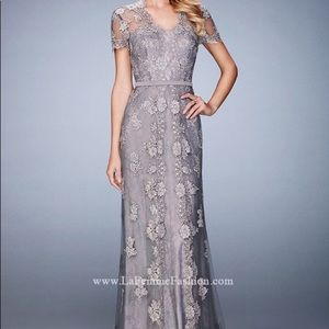 La Femme - Short Sleeved Lace Embroidered Gown